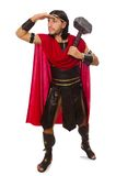 Gladiatore con il martello isolato sul bianco Immagine Stock
