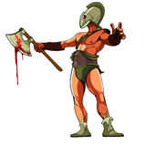Gladiatore con un'ascia sanguinosa Immagini Stock Libere da Diritti