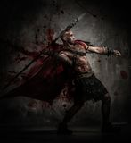 Gladiatore ferito in cappotto rosso immagine stock libera da diritti