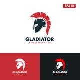 Gladiatore Logo/affare Logo Idea di progettazione vettore dell'icona Fotografie Stock Libere da Diritti