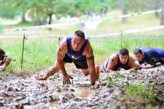 Gladiatore Race - corsa di ostacolo estrema in La Fresneda, Spagna fotografia stock libera da diritti