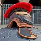 Gladiatore romano del casco di guerra, Italia Fotografie Stock
