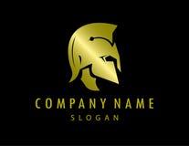 Gladiatorgoldlogoschwarzhintergrund Lizenzfreies Stockfoto