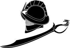 Gladiatorhjälm och svärd Arkivbild
