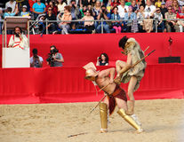 Gladiatorial combat. Reconstruction of gladiator fights in Moscow 06.06.2015 city - Festival time and age, the Roman Empire stock photography