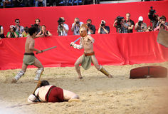 Gladiatorial combat. Reconstruction of gladiator fights in Moscow 06.06.2015 city - Festival time and age, the Roman Empire royalty free stock photo