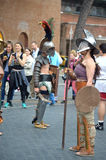 Gladiators at ancient romans historical parade. For the birth of city of Rome 21st of april  at circus maximus in Romen Stock Images