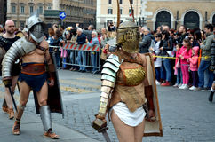 Gladiators at ancient romans historical parade. For the birth of city of Rome 21st of april  at circus maximus in Romen Royalty Free Stock Photo