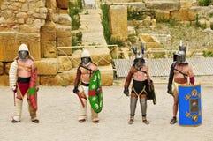 Gladiators fight in Amphitheater of Tarragona Stock Images