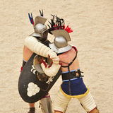 Gladiators fight in Amphitheater of Tarragona Stock Photos