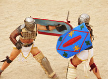 Gladiators fight in Amphitheater of Tarragona Stock Image