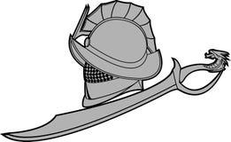 Gladiators helmet with sword Royalty Free Stock Image