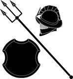 Gladiators helmet and trident with shield Stock Image