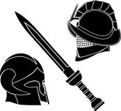 Gladiators helmets and sword Royalty Free Stock Image