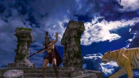 Gladiatorstridighet med en tiger vektor illustrationer