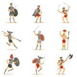 Gladiatorzy Walczy Na arenie Ustawiającej kreskówka imperium rzymskie era W Dziejowym opancerzeniu Z kordzikami I Innymi broniami ilustracja wektor