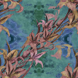 Gladiolus - a branch with flowers and buds. Watercolor background. Abstract wallpaper with floral motifs.  Seamless pattern. Wallp Royalty Free Stock Photos