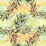 Gladiolus - a branch with flowers and buds. Watercolor background. Abstract wallpaper with floral motifs.  Seamless pattern. Wallp Royalty Free Stock Photo