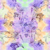 Gladiolus - a branch with flowers and buds. Watercolor background. Abstract wallpaper with floral motifs. Gladiolus. Wallpaper. Use printed materials, signs Stock Photos