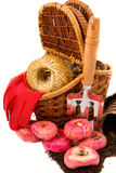 Gladiolus bulbs with a basket, garden rakes, gloves, rope, peat Stock Photo