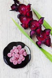 Gladiolus and candies Stock Images