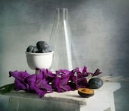 Gladiolus and plums. Gladiolus Purple Haze, plums and test-glass on the old stool american royalty free stock photography