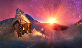 Gladly meet winter holidays in the mountains Stock Images