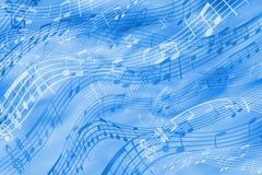 Gladlynt abstrakt bakgrund på ett musikaliskt tema i blåa signaler royaltyfri illustrationer