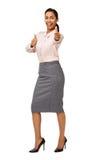 Gladlynt affärskvinna Gesturing Thumbs Up Arkivfoton