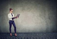 Gladlynt affärskvinna som använder bärbara datorn royaltyfri foto