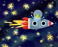 Gladlynt astronaut i en raket royaltyfri bild