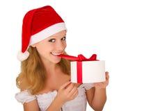 gladlynt barn för julflickapresent Arkivfoton