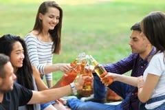 Gladlynt bekymmerslös grupp av vänner som klirrar exponeringsglas med drinken fotografering för bildbyråer