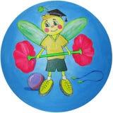 Gladlynt bi som främjar en sund livsstil - teckning Royaltyfria Foton