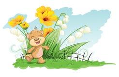 Gladlynt björn för illustration med liljor och blommor Royaltyfri Bild