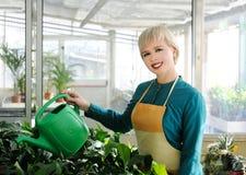 Gladlynt blomsterhandlare arkivfoton