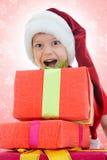 gladlynt claus för pojke hatt santa Arkivbilder