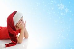 gladlynt claus för pojke hatt santa Fotografering för Bildbyråer