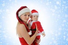 gladlynt claus för pojke hatt santa Royaltyfri Foto