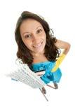 gladlynt cleaning mops kvinnan fotografering för bildbyråer