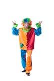 Gladlynt clown som poserar i dräkt och färgrik peruk Royaltyfri Foto