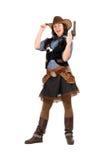 Gladlynt cowgirl med en tryckspruta arkivbild