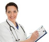 gladlynt doktorsläkarundersökningkvinna royaltyfria bilder