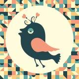 Gladlynt fågel med tappningbakgrund Arkivbild