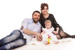gladlynt familj Arkivfoto