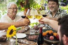 Gladlynt familj som hurrar med vin royaltyfri bild