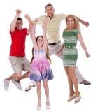 gladlynt familjgyckel för luft som har banhoppning till Arkivfoto