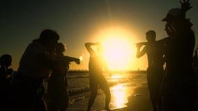 Gladlynt folkmassadans på stranden De hoppar i solen Folket har gyckel De är lyckliga 3d isolerade objektfolksilhouettes lager videofilmer