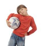gladlynt fotboll för bollkalle Arkivbild