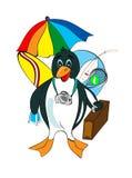 gladlynt går lycklig pingvinrest till Stock Illustrationer